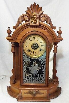 Antique ANSONIA Walnut Victorian 8 Day TRIUMPH Mirrored JENNY LIND MANTLE CLOCK