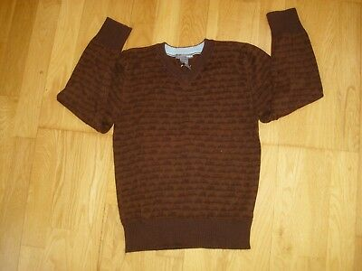 Boys H&M cotton knit v-neck jumper brown with car design age 7-8 great condition
