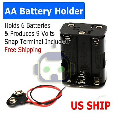 BATTERY HOLDER FOR 6 x AA-CELL (WITH SNAP TERMINALS) Produces 9 Volt