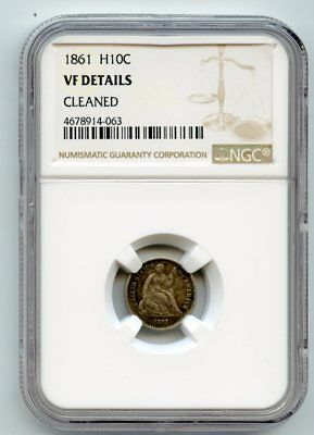 1861 Seated Liberty Silver Half Dime (VF Details) NGC.   Cleaned