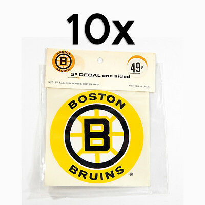 "Lot of (10) Vintage 1970's Boston Bruins 5"" One-Sided Decal Stickers NIP"