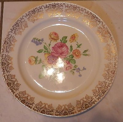 Knowles Floral Gold 10 1/4 Inch Plate With Gold Design-Usa Made