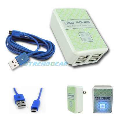 10X 4 Usb Port Hub Wall Adapter+6Ft Cable Charger Blue G2 Optimus G Pro Nook