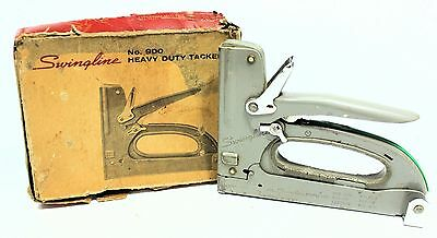 Vtg 1950's SWINGLINE 900 Heavy Duty Staple Gun Tacker W/ORIGINAL BOX WORKS GREAT
