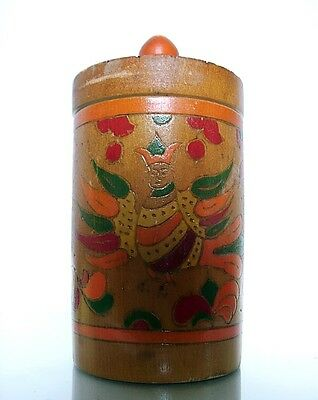 Lovely carved & painted Russian colorful canister/ birds with human faces c.1960