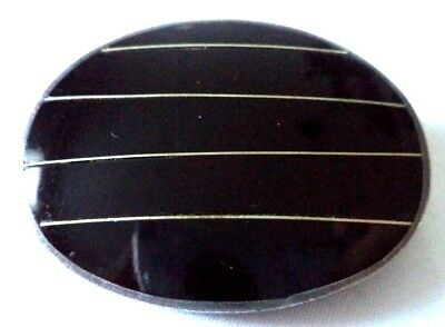 "Stunning Vintage Estate Signed 925 Sterling Silver Mexico Onyx 1.5"" Brooch 5265E"