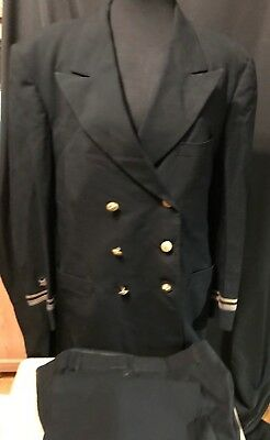 US Military Men's Black 100% Wool Eagle Button Overcoat Jacket & Pants Military
