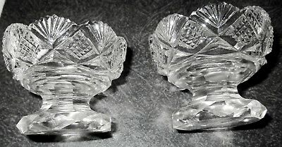 2 Antique American Brilliant Cut Glass Pedestal Salts, Fan Motif, Beautiful