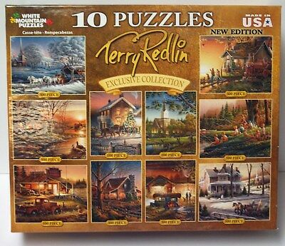 Terry Redlin Box with 10 Puzzles White Mountain New 100, 300, 500 pieces