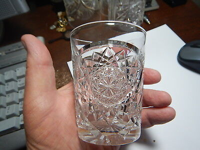 American Brilliant Cut Glass tumbler heavy Libbey  pattern estate collection