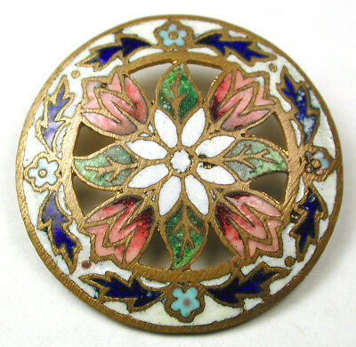Antique French Enamel Button Colorful Pierced Champleve Flower - 1 & 1/16""