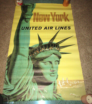 Vintage Stan Galli United Airlines New York Poster Travel Statue Of Liberty