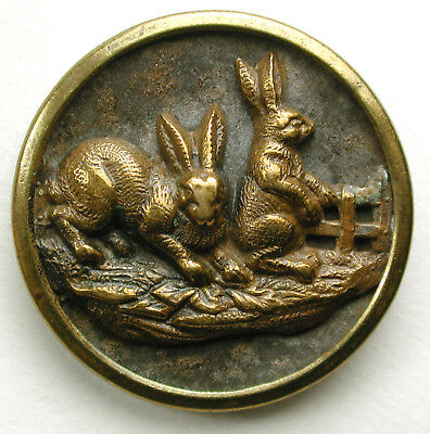 Antique Brass Button 2 Rabbits in Field Near Fence Scene 1 & 3/16""