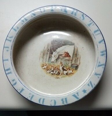 Vintage Baby Bowl with Horses and Beagles