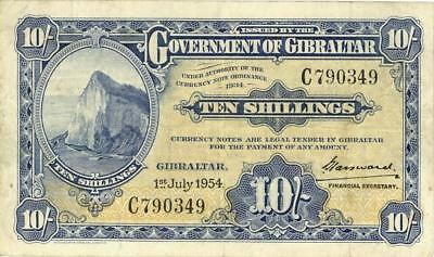 Gibralter 10 Shillings Currency Banknote 1954