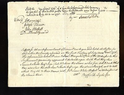 1736 Mass. / English Document Signed by SAMUEL SHUTE Royal Governor Mass. & NH
