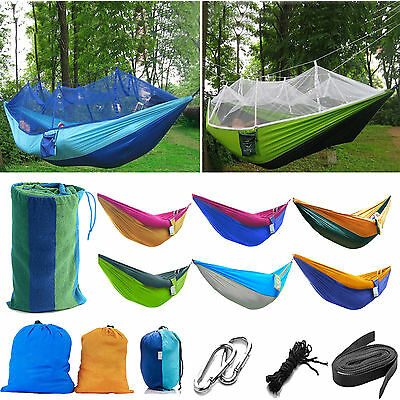 Portable Two Person Hanging Hammock Fabric Parachute Travel Camping Outdoor Bed