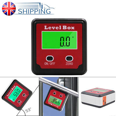 360° UK 0 Angle Box Level - Gauge Magnetic Inclinometer Digital Protractor Base