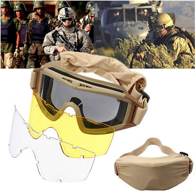 3 Lenses Tactical Airsoft Goggles Eye Mask 100% UV Protection SWAT