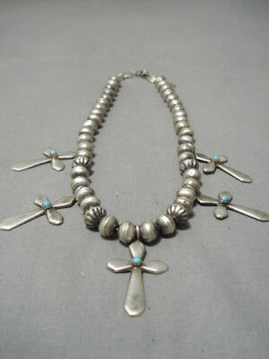 Incredible! Vintage Navajo Hand Wrought Sterling Silver Cross Turquoise Necklace