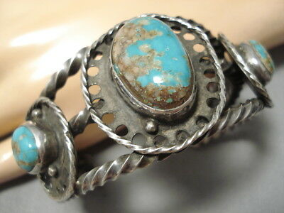 Rare Quality!! Vintage Navajo Royston Turquoise Sterling Silver Bracelet Old