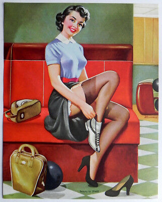 Vintage Cheesecake Calendar Pin-up Girl Litho Print Edw D'Ancona BEAUTY TO SPARE