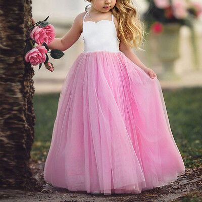 Kids Flower Girls Dresses Princess Bridesmaid Maxi Dress Formal Party Wedding