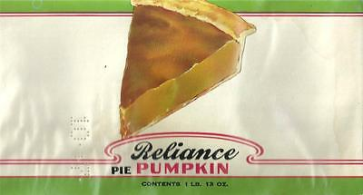 Vintage Reliance Pie Pumpkin Can Label Smith, Lichty, & Hillman Co. Waterloo,Ia.