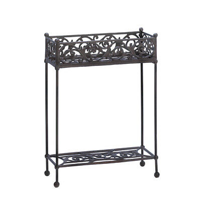 Western Rustic Antique Cast Iron Plant Stand with Two-Tier Outdoor Indoor Garden