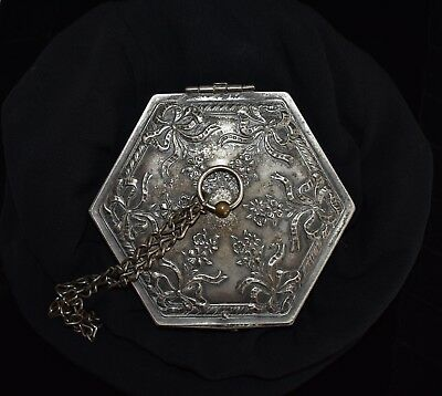 Gorgeous MUSEUM DISPLAYED Antique VICTORIAN SILVER Bows & Flowers COMPACT Purse