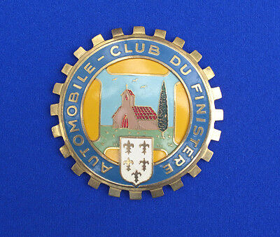 RARE 1930's Automobile Club Du Finistere (France) Car Grill Badge Emblem