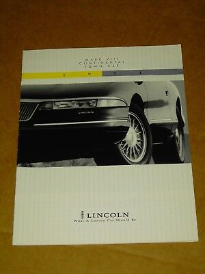 1994 Lincoln Brochure 12 Pages Nice! Mark Viii Town Car Continental