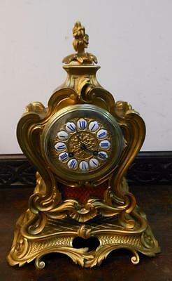 pretty french brass cased ornate mantel clock on stand c1890s