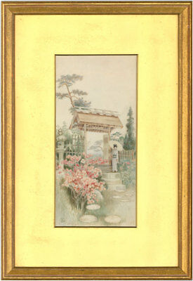 Japanese School - Pair of Early 20th Century Watercolours - Garden Scenes