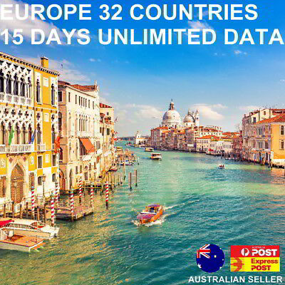 15 days UK + Europe 32 countries Travel SIM Card | Unlimited data + 30min calls