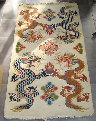 Antique Asian China Chinese Japanese Carpet rug  Art Deco Dragons