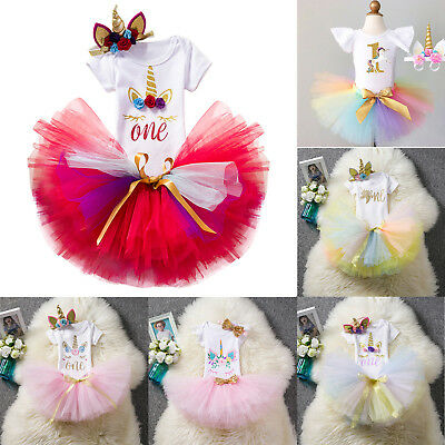 Unicorn First Birthday Dresses Kids Baby Girls Tulle Tutu Skirt +Tops + Headband