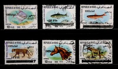 Iraq: 1971-5 Official Stamp Collection Of Two Sets Scott #co5-7, O312-13