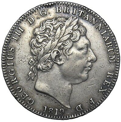 1819 Lix Crown - George Iii British Silver Coin - Nice - Thick Garter Edge Holed