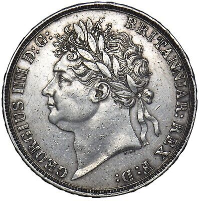 1821 Crown (Wwp Inverted) - George Iv British Silver Coin - V Nice