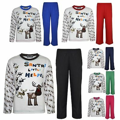 "Kids Boys Girls ""SANTAS LITTLE HELPER"" Christmas Pyjamas Reindeer Rudolph PJ's"
