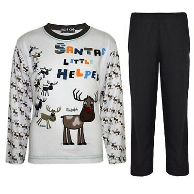"Kids Boys Girls Black ""SANTAS LITTLE HELPER"" Christmas Pyjamas Reindeer Rudolph"