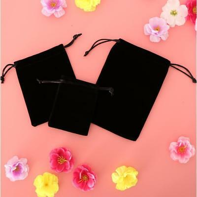 5Pcs Black Smooth Velvet Drawstring Pouch Jewelry Package Wedding Party Bag