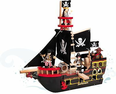 Le Toy Van Barbarossa Pirate Ship Wooden Budkins Boat Child/Toddler/Kid New