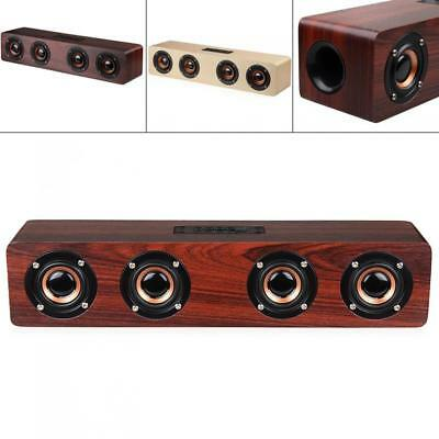W8 4 Horns 12W Wooden Wireless Bluetooth Speaker with TF Card Playback