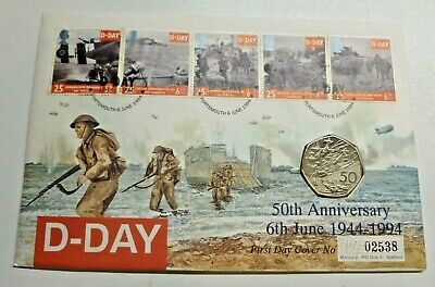 D-Day 50th Anniversary 50p 1994 Brilliant Uncirculated On Coin Cover PNC FDC