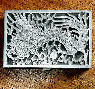 Rare Antique Silver & Glass Chinese Dragon Jewelry Box, Rare Vintage Casket
