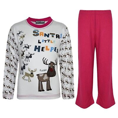 "Kids Girls Pink ""SANTAS LITTLE HELPER"" Christmas Pyjamas Reindeer Rudolph Pjs"