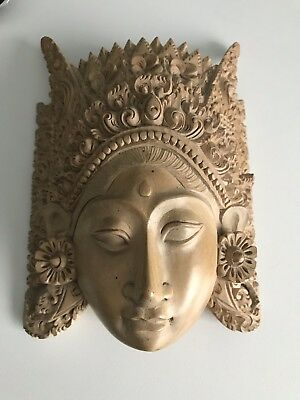 Authentic Balinese Hand Carved Hibiscus Wood Goddess Mask