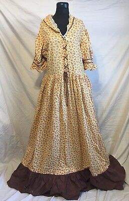 Vintage Antique Bell 1800's Beautiful Floral Yellow Calico Lace Day Dress